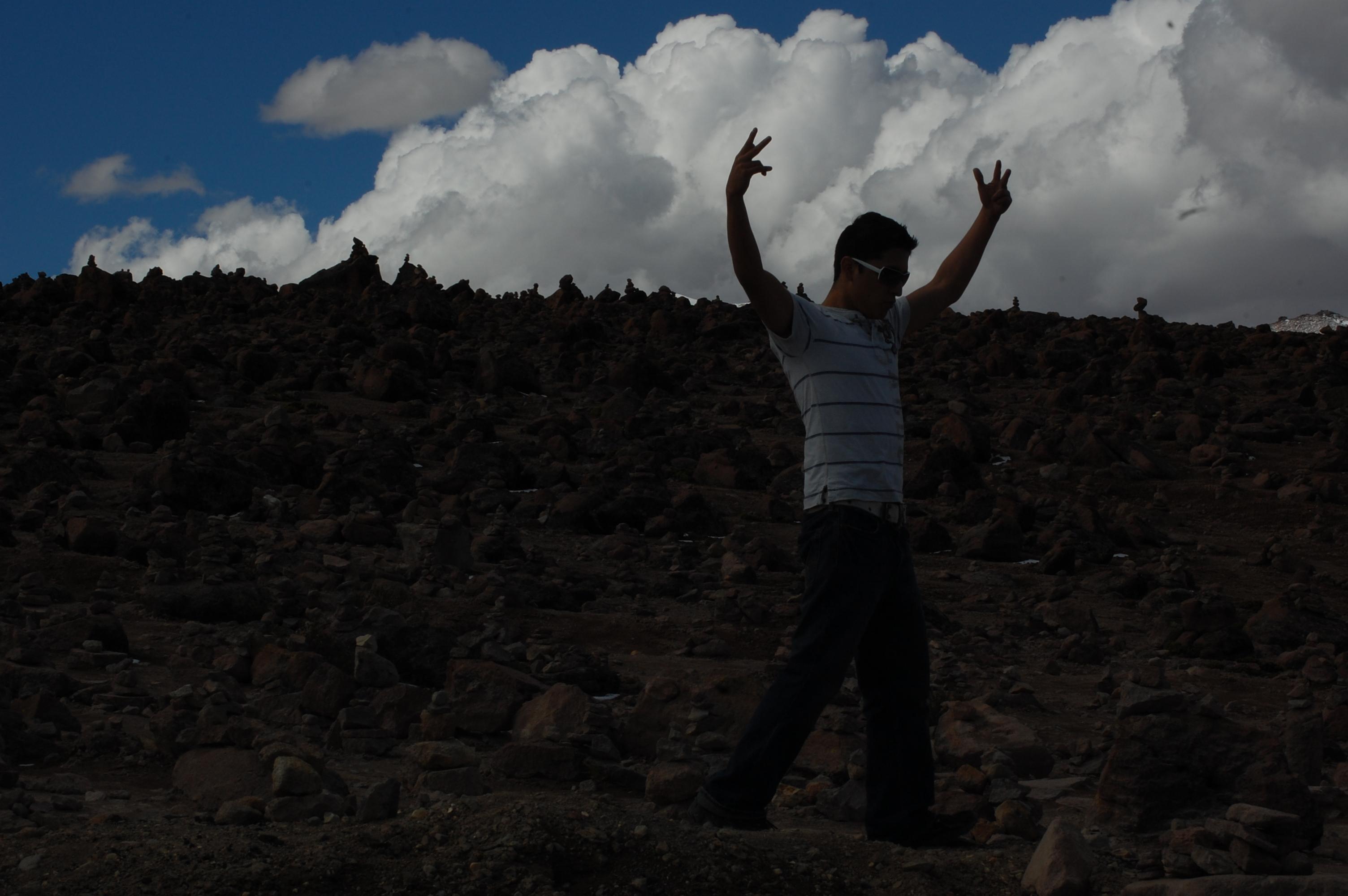 Ricky celebrating man over nature
