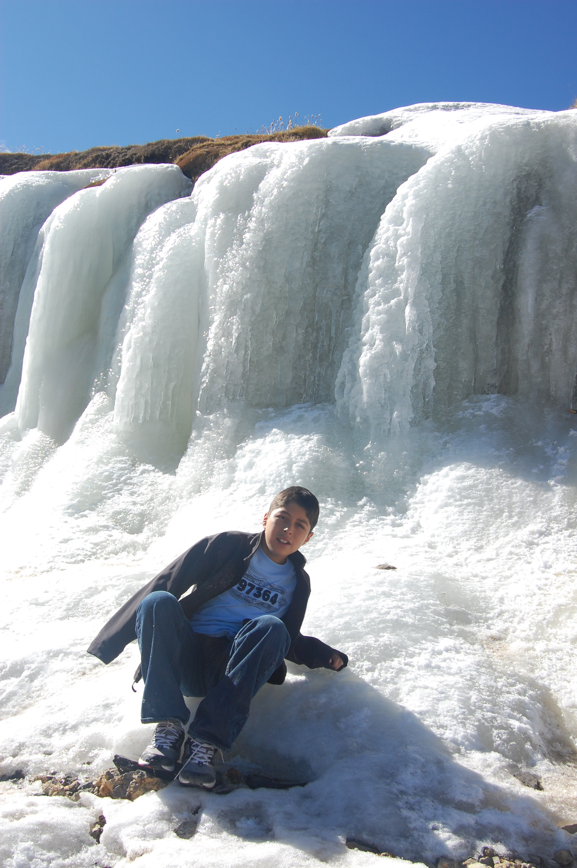 Chris on a frozen waterfall or something, ~16,000 feet up!