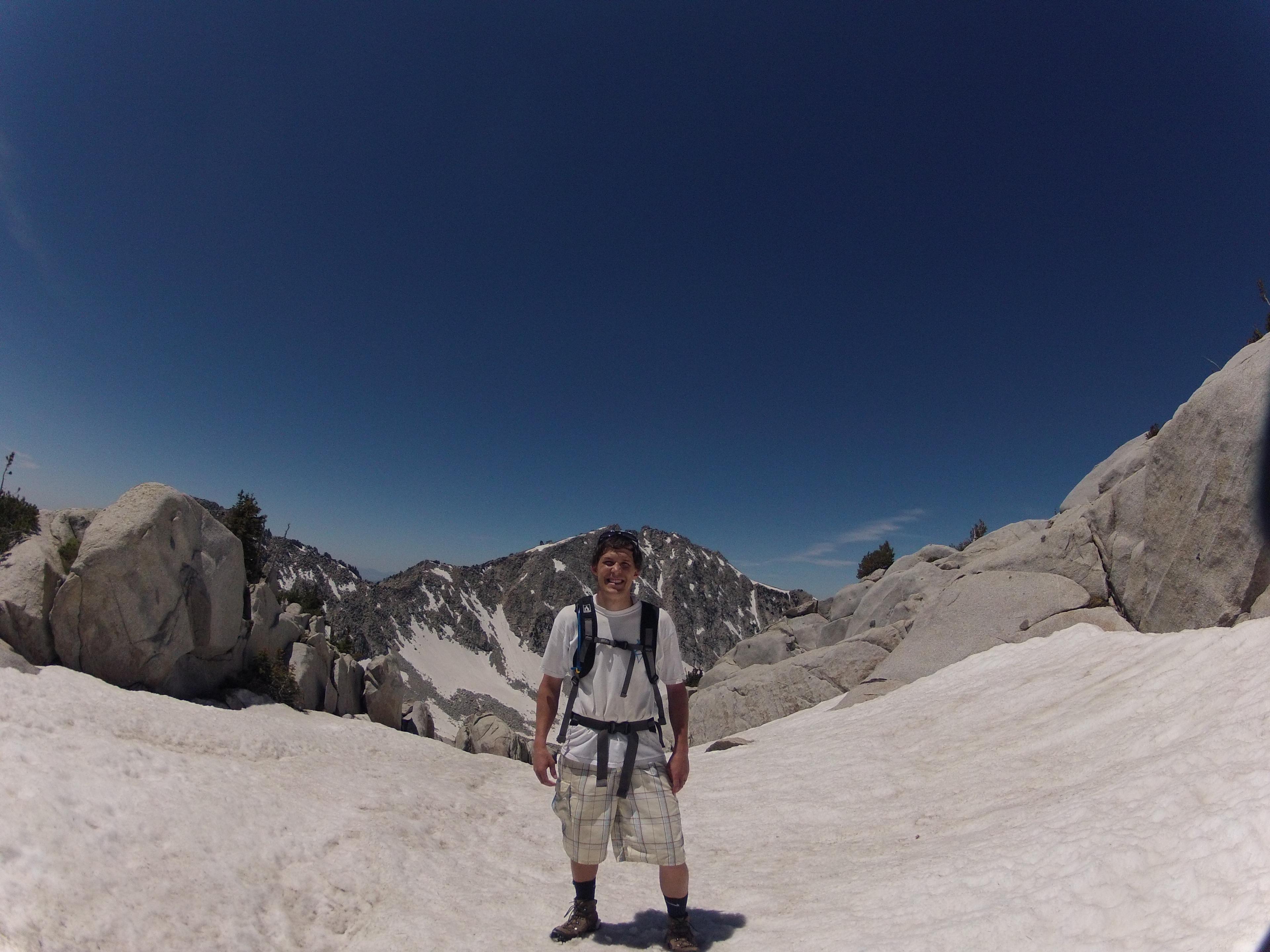 Cool snowfield with Lone Peak behind