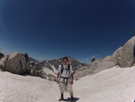 Cool snowfield with Lone Peak behind