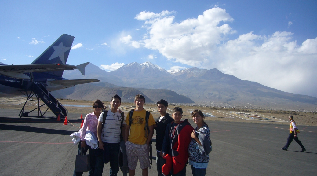 At Arequipa Airport, with Misty in the background