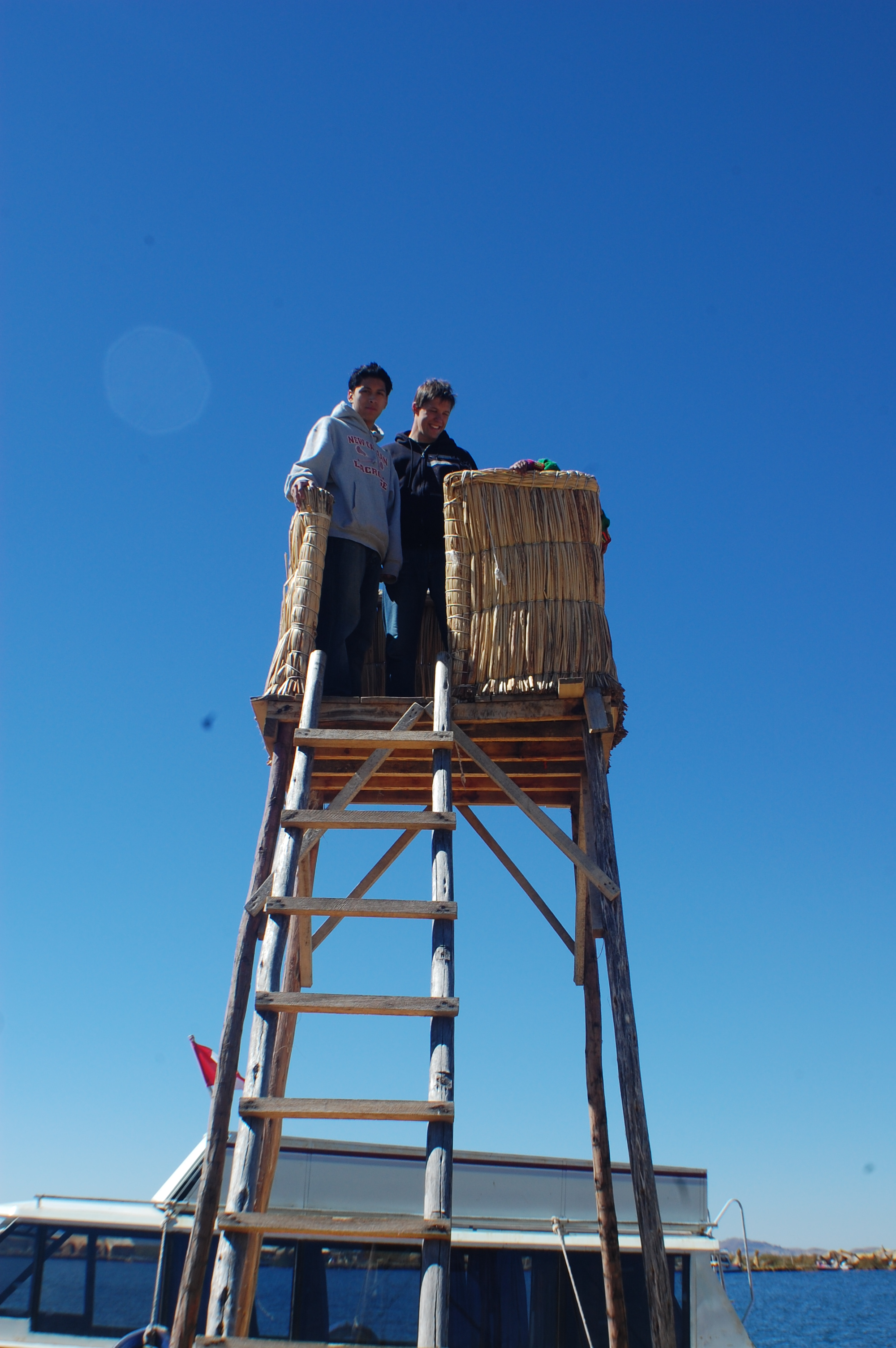 The watch tower on the largest island is made entirely of reeds