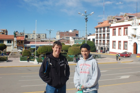 Leon and I in the central Puno plaza. Despite it's tropical latitude, at 12,000+ feet, we needed sweatshirts