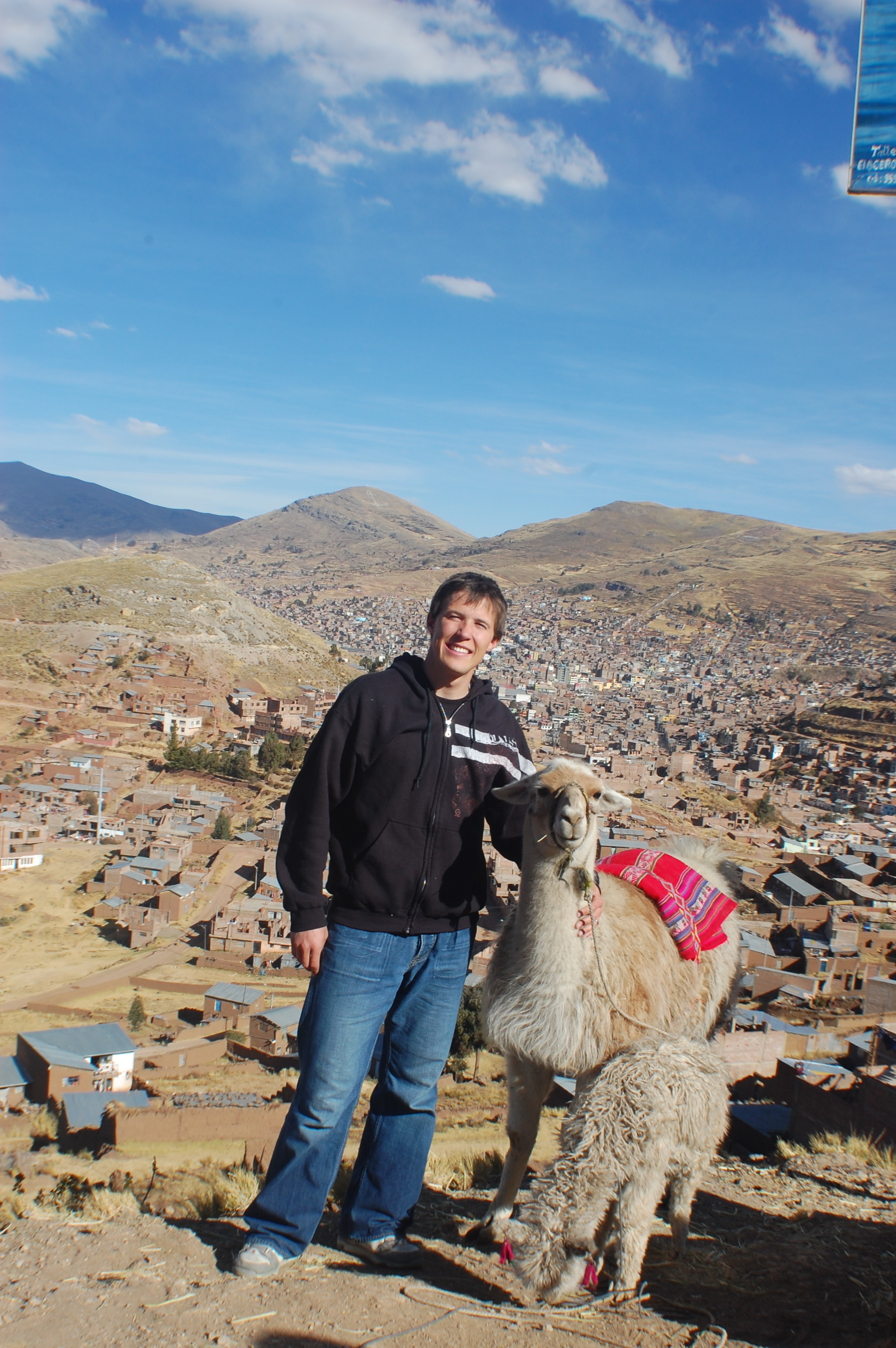 We stopped to pay for a picture with Llama at a Puno overlook on way to Sillustani Towers