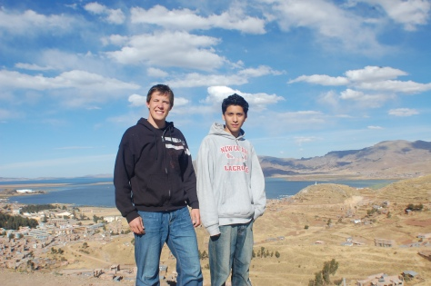 Leon and I, with Lake Titicaca in background