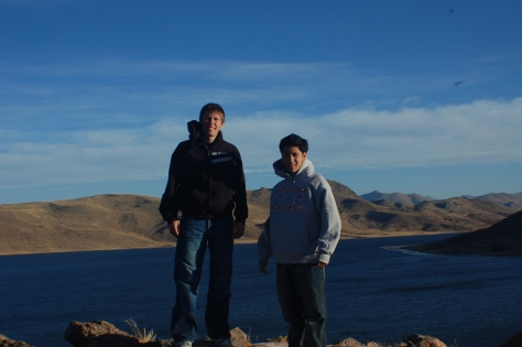 Leon and I, with Lake Umayo in background