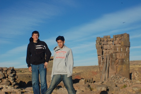Leon and I with a chullpa, or burial tower, which have all been raided. Some were 15+ feet high