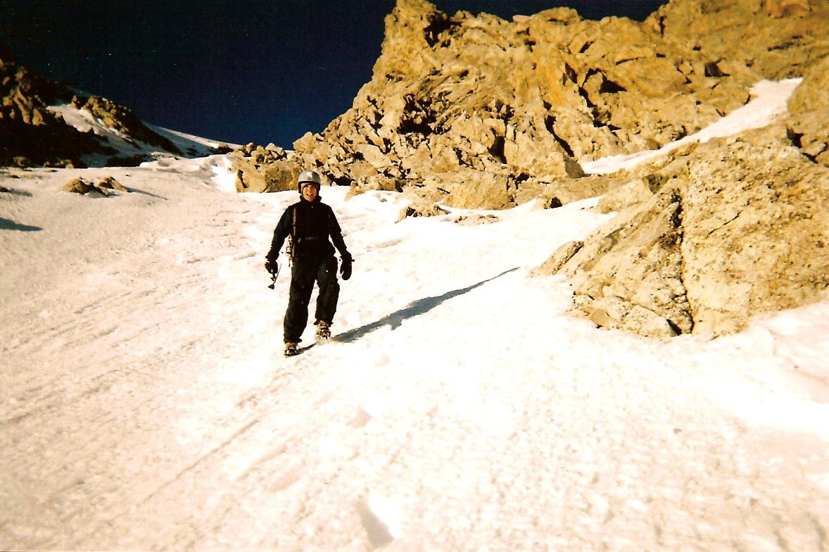 Looking toward summit, on way down, with nice view of couloir