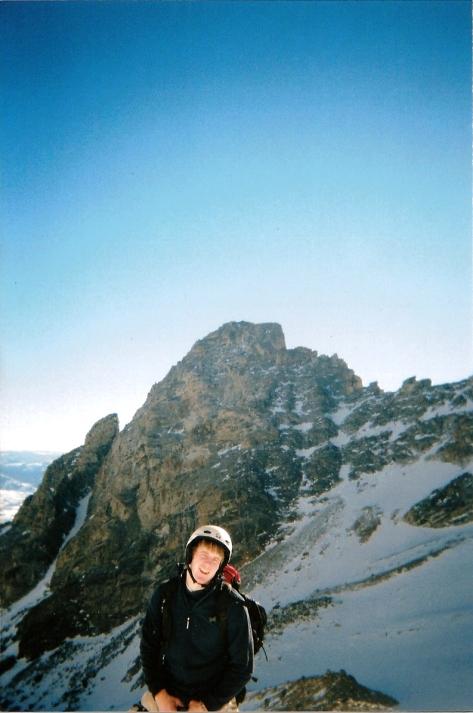 Nate at Upper Saddle with South Teton Behind