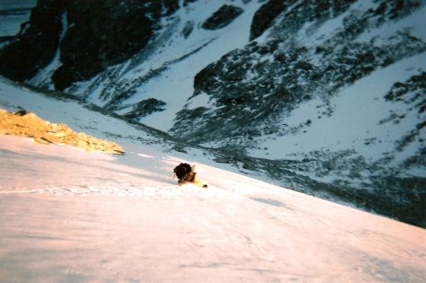 Nate hauling it down the glacier